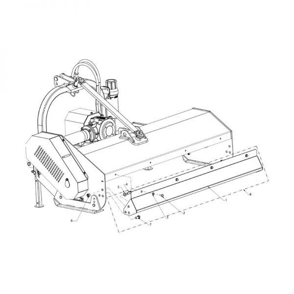 Standard rear cover assembly - flail mower 130